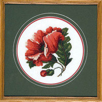 Red Poppy Cross Stitch Needlework - Framed Circular Large Flower with Green Leaves