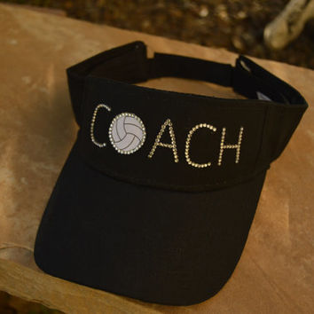 Volleyball Coach Visor / Hat - in your choice of rhinestone color