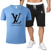 LV tide brand men's casual short-sleeved sports suit two-piece