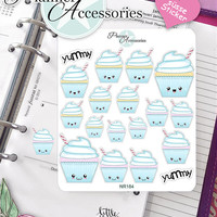 Sticker Sheet Cupcake Kawaii Erin Condren, Happy Planner, Filofax, Kikki K -NR184
