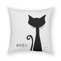 "Cat Meow by Artist Lisa Weedn Artistic 18""x18"" Throw Pillow"