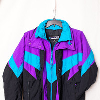 Pacific Trail 80s Ski Jacket, Purple and Turquoise Womens 80s Ski Coat, 80s Triangle Ski Jacket, Ladies 80s Ski Party Jacket Costume