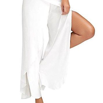 Ferbia Women's High Slit Solid Flowy Layered Crooped Palazzo Pants /White