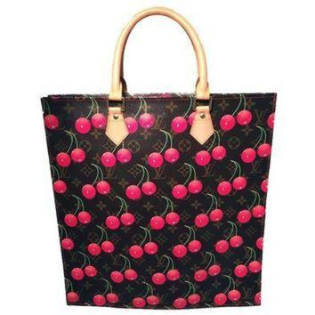 PEAPYD9 Limited Edition Louis Vuitton Cerise Cherry Print Monogram Sac Plat Tote Bag