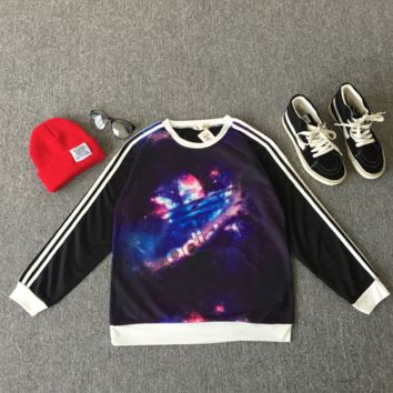 Adidas Woman Fashion Edgy Stripe Galaxy Sport Top Sweater Sweatshirt