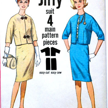 1963 Women's Suit Pattern Simplicity 4884 Bust 34 Simple Suit Vintage Sewing Pattern