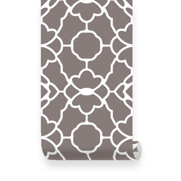 Large Trellis Pattern Brown Fabric Wallpaper