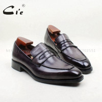 Square Toe 100% Genuine Leather Out sole Bespoke Goodyear Handmade Gray Penny  Men's Slip On Shoe