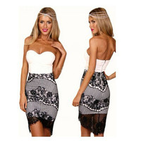 Strapless Lace Mini Bodycon Dress