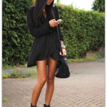 Black Long Sleeve Tulip Waist Dress