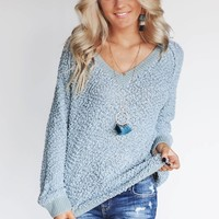Get To It Sage Popcorn Pullover Sweater