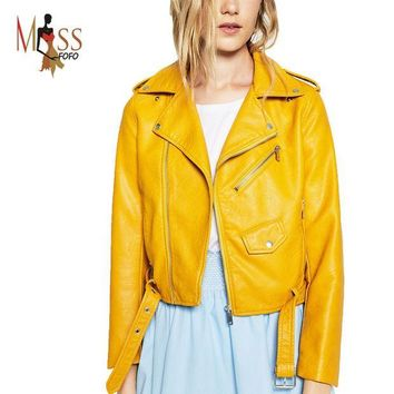 PEAPUNT 2016 New Autumn Fashion Street Women's Short Washed PU Leather Jacket Zipper Bright Colors New Ladies Basic Jackets Good Quality