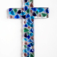 Glass Cross - Sun Catcher - Wall Decor