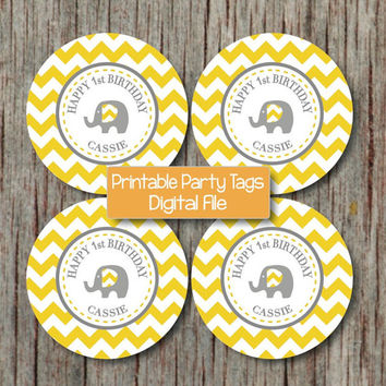 Happy Birthday Cupcake Toppers Yellow Grey Chevron Elephant Birthday Decorations DIY Party Toppers Digital - 230
