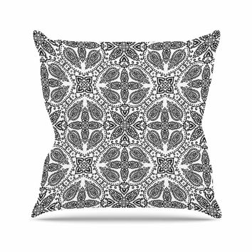 "Nandita Singh ""Boho In Black And White"" Grey Pattern Outdoor Throw Pillow"