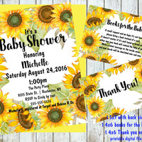 Sunflower Baby Shower Invitations, Floral, baby shower invitation kit, Printable digital, Baby Shower Invitations, 5x7 baby shower invite