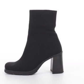 Neoprene Stretch Boots Black Chunky Minimalist Cyber Goth Ankle Boots 90s Vintage Shoes Womens Size US 6 UK 4 EUR 36-37
