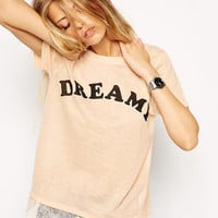 Peach Dreamy T-Shirt with Lace Accent