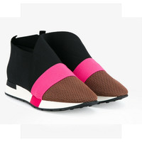 Balenciaga Black, Pink and Orange Women Race Runner Sneakers