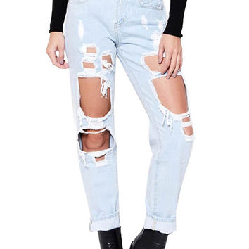 BOYFRIEND RIPPED JEANS DENIM
