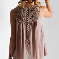Crochet Lace-Up Back Top - Light Mocha