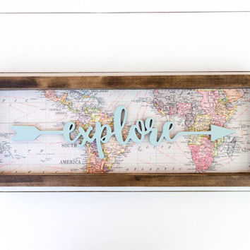 Explore wood sign // explore sign // explore arrow wood sign // explore map sign // map wood sign // arrow wooden sign