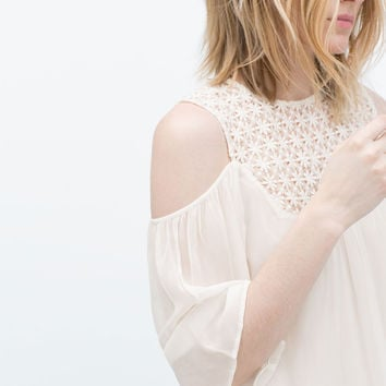 Guipure lace off-shoulder blouse