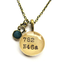 Morrocan Style Brass and Teal Enamel Scrollwork Charm Dewey Decimal Necklace Librarian Teacher Gift Limited Edition