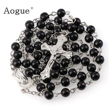 5mm Dark Black Bead Holy Rosary Necklace For Lady and  Mens