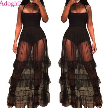 Adogirl Sheer Mesh Ruffle Spaghetti Straps Women Dress Sexy Strapless Elastic Bodice Flare Maxi Club Party Dresses Beach Dress