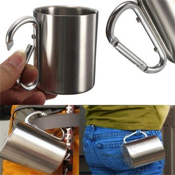 220ml Stainless Steel Mug Outdoor Camp Camping Cup Carabiner Hook Double Wall New