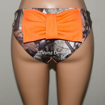 Camo & Denim Orange Bikini Bow Bottoms, Cheeky/Medium Coverage Hips Bikini Bottoms, Fully Lined Swim Suit Bottom