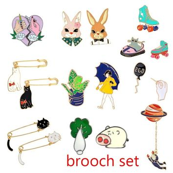 9 Style Cartoon  Brooch  Pins  Lovely Pig Cat Rabbit Girl  Personality Enamel Brooch Women Girl Clothing Accessories  Gift