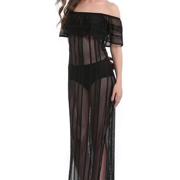 Women's Black or White Off Shoulder Lace Long Maxi Beach Dress - Covers Up