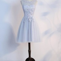 Grey Patchwork Grenadine Lace Pleated Elegant Tutu Homecoming Mini Dress