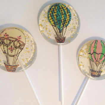 3 hand painted hot air balloon cotton candy flavored lollipops
