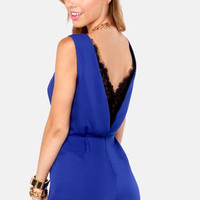 Hope-lace-ly Devoted Royal Blue Lace Romper