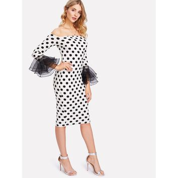 Black And White Tiered Sleeve Form Fitting Dress