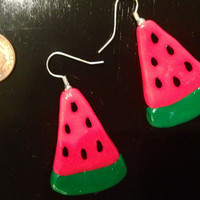 Watermelon Earrings made with Sculpey clay