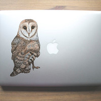 Barn owl clear vinyl decal for laptops