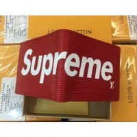 DCCK LOUIS VUITTON NEW SUPREME RED WALLET LEATHER WALLET