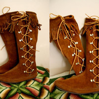 Vtg TALL Suede Moccasins Rich Caramel Color Leather Lace up Size 7