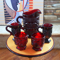 VINTAGE ROMANTIC RED Dinner for 2 Mid Century Stemmed Mugs, Pitcher, Footed Candle Holders Red Gothic Cape Cod Pattern by Avon Glass