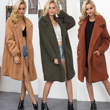 Lapel Collar Solid Color V-neck Oversized Women Teddy Faux Fur Coat