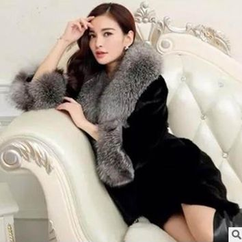 Winter Jacket  womens fur coat Fox Fur Collar Imitation Mink Fur Coat Long Outerwear Faux Fur Jackets and Coat Women's Overcoat