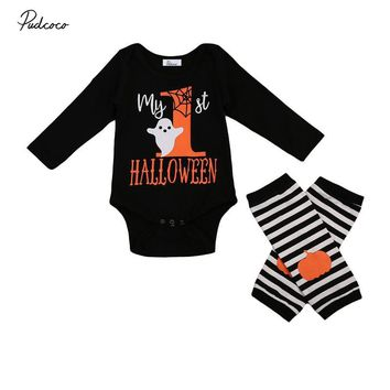Halloween Baby Cotton Romper Newborn Boys Girls Pumpkin Romper+Leg Warmers 2PCS 2017 Fall Costume Outfits Body Suit For Newborns