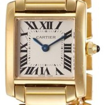 Cartier Gold Tank Francaise 18k Yellow Ivory Dial Ladies Watch 57% off retail
