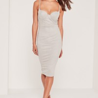 Missguided - Faux Suede Midi Dress Grey