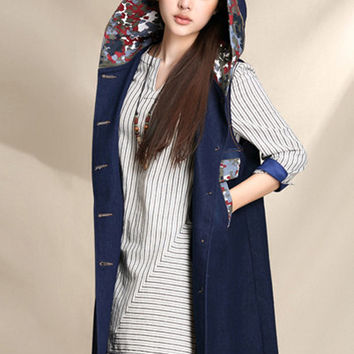 Women winter printed long hooded vest (ESR148)