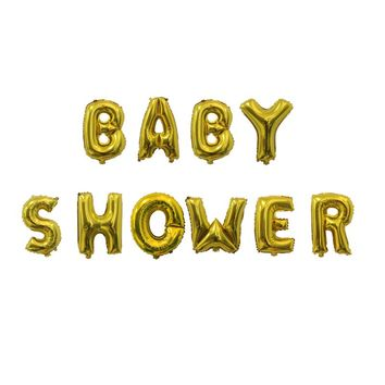 10pcs baby shower balloons  gold silver letters balloon banner  baby shower decorations  boy girl shower  supply